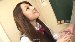 Hawt brunette hair student Ria Sakurai gets exposed for school principal after the classes and gets her cum-hole stimulated by vibrator in advance of that babe gives head to him and other professors on her knees and getting banged hardcore in group sex session on the desk