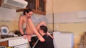 We are a sexy non-professional couple and I and my GF like morning sex so much! We start the day as usual – Anna cooks breakfast in short petticoat and sexy lingerie and I swallow coffee enjoying my GF's half undressed treasures. When breakfast is ready we pass to the sexy couple fucking right there in the kitchen where my biggest non-professional dick makes Anna feel the peak of pleasure. And then u will likewise get the movie scene in which my wicked GF masturbates obscene cleft with sex tool and invites me to join her in some other couple sex porn action!