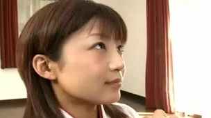 Horny Japanese legal age teenager in traditional kimono pleases her guests by giving a welcome gift: engulfing their schlongs!