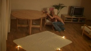 Cute amateur legal age teenager with merry whoppers copulates a huge white pecker
