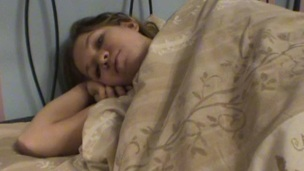 Amazing legal age teenager sex scene is taking place on a soft wide couch