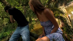 Wild fuck outdoors on the log with a nasty and filthy blond