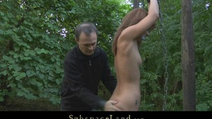 Dom takes his slave in the forest for a kinky S&m outside play. Although the redhead hotty is bound-up and smuff-gaged with her bikini that chick struggles to escape from thraldom but has no success
