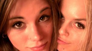 Little Caprice and Sabrina Blond fooling aroun nude in sauna