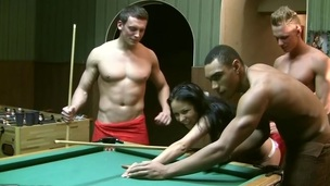 I really like to play billiards in the sauna with my buddies. But it's not that fun if there are no beauties. So we invited our hawt ally Emmy to join us. That Babe only acquiesced to come when I told her there would be other gals... Of course it was a lie. We don't need more than one gal for gang bang movies :) In Any Case, to entice our hawt brunette hair in bikini into dp porn we used a popular trick. We just played a game of billiards, and that babe lost. If u lose, u pay, that's fair. So poor thing had no thing ...