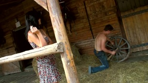 Legal Age Teenager whore finds a hayloft in order to enjoys sex in there